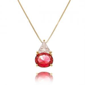 Colar da Moda Geométrico Vermelho Semijoia em Ouro 18K com Zircônia Cristal