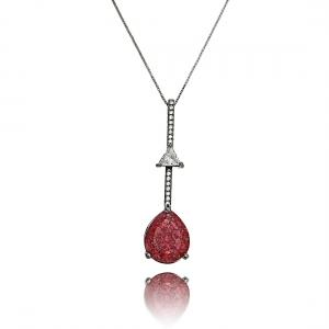 Colar de Pedra Vermelha Fusion e Zircônia Cristal Semijoia Exclusiva Ródio Negro