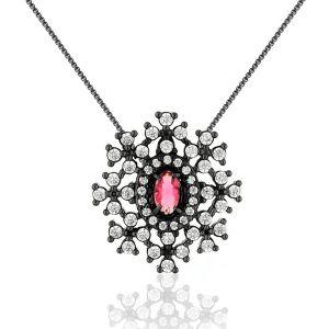 Colar de Pingente Flor Semijoia em Ródio Negro com Zircônias Branca e Cristal Rubi
