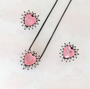 Colar e Brinco Coração Fusion Premium Rosa em Ródio Negro
