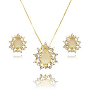 Colar e Brinco Gota Amarela e Zircônia Cristal Semijoia Ouro