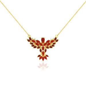 Colar Espírito Santo Navete Semijoia Ouro 18K com Cristal Ágata Vermelha e Zircônia Branca