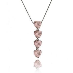 Colar Estilo Gravatinha Coração Rosa Exclusivo Semijoia Luxo em Ródio Negro com Zircônia Cristal