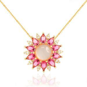 Colar Flor Cabochão Semijoia em Ouro Rosé 18K com Zircônia Branca e Cristal Rosa Safira