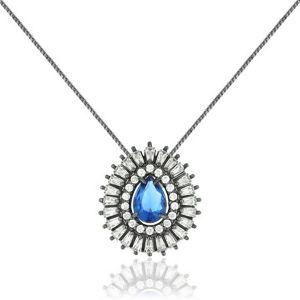 Colar Gota Azul Safira Semijoia em Ródio Negro com Zircônia e Cristal