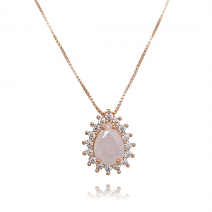 Colar Gota Branca Fusion Ouro Rosé Semijoia Luxo