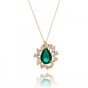 Colar Gota Esmeralda e Zircônia Cristal Semijoia Ouro 18K