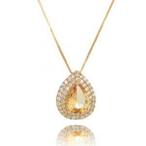 Colar Gota Morganita Ouro Rosé 2 Molduras Zircônia Cristal Semijoia
