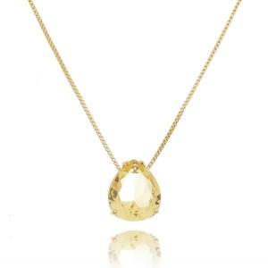 Colar Gota Zircônia Fancy Yellow 11 x13 mm Semijoia de Luxo em Ouro 18K