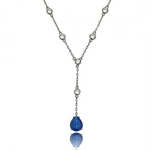 Colar Gravatinha Azul Safira Fusion e Zircônia Cristal Semijoia Luxo Ródio Negro