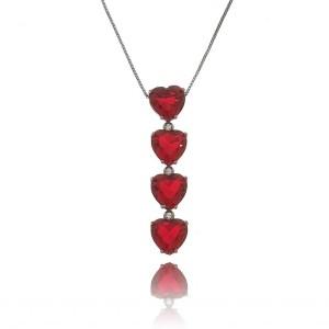 Colar Gravatinha Coração Rubi Vermelho com Zircônia Branca Semijoia Luxuosa em Ródio Negro