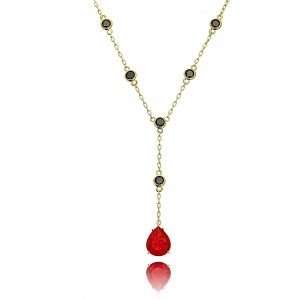 Colar Gravatinha Gota Vermelha Pedra Fusion e Zircônia Negra Semijoia Ouro