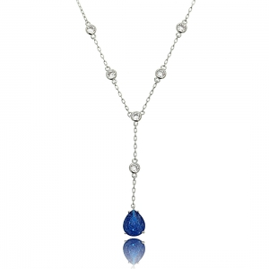 Colar Gravatinha Pedra Fusion Azul Safira Corrente Pontos de Luz Semijoia Ródio Branco