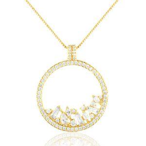 Colar Mandala Curto Semijoia em Ouro 18K com Zircônia Branca