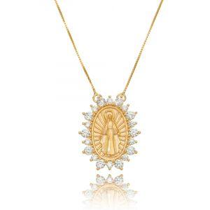 Colar Medalha Milagrosa de Nossa Senhora das Graças Ouro Rosé Zircônia Branca Semijoia