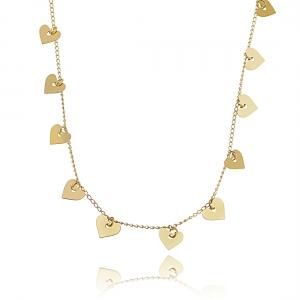 Colar Medalhas Coração Dourado Semijoia da Moda em Ouro 18K