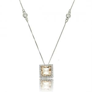 Colar Morganita com Zircônia Cristal Corrente 4 Pontos de Luz Semijoia Ródio Branco
