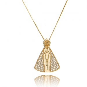 Colar Nossa Senhora Aparecida Micro Zircônia Branca Grande Semijoia Luxo Ouro Rosé