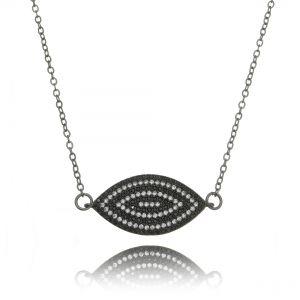 Colar Olho Grego Preto e Branco Zircônias Semijoia Fashion Ródio Negro