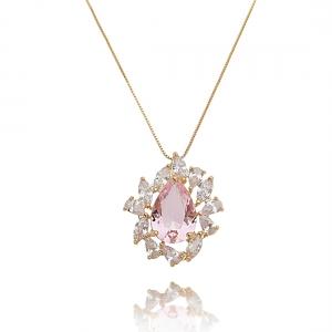Colar para Festa Rosa Gota e Zircônia Cristal Semijoia Ouro Rosé