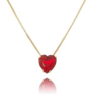 Colar Pingente Coração Rubi Vermelho 10 mm Semijoia Delicada em Ouro 18K com Zircônia