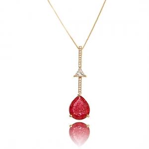 Colar Pingente Cristal Zircônia e Gota Rubi Fusion Semijoia Exclusiva em Ouro Rosé