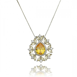 Colar Pingente de Gota Amarela e Zircônia Cristal Semijoia Luxo Ródio Branco