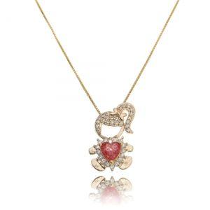 Colar Pingente Filha Ouro Rosé Semijoia Zircônia Branca e Coração Rubi Fusion