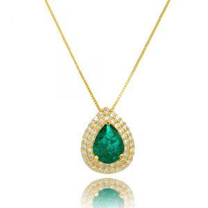 Colar Pingente Fusion Esmeralda e Zircônia Cristal Gota Semijoia Ouro