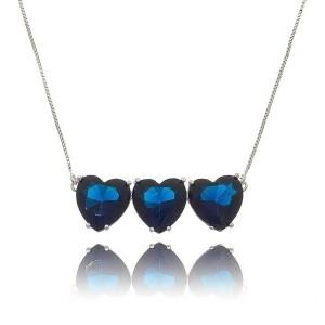 Colar Pingentes Coração Triplo Azul Safira Semijoia em Ródio Branco com Zircônia