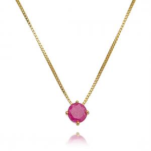 Colar Redondo Rosa Fusion Semijoia Online em Ouro