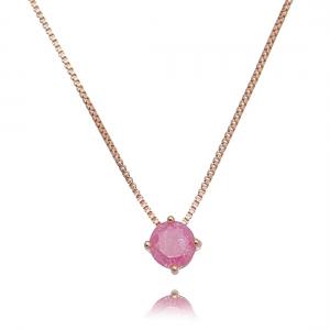 Colar Rosa Ponto de Luz de Pedra Fusion Semijoia Ouro Rosé