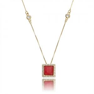 Colar Semijoia Pingente Quadrado Rubi Corrente Tiffy em Ouro Rosé