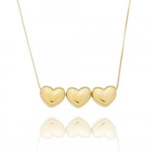 Colar Trio de Corações Dourado Liso Semijoia Ouro 18K