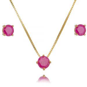 Conjunto Brinco e Colar Ponto de Luz Dourado Rosa Fusion Semijoia Ouro