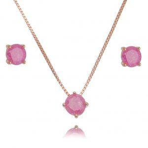 Conjunto Brinco e Colar Ponto de Luz Ouro Rosé Fusion Rosa Semijoia