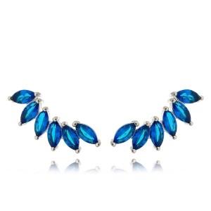 Ear Cuff Azul Safira Semijoia em Ródio Branco com Zircônia