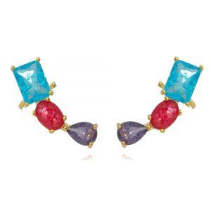 Ear Cuff Colorido Fusion com Garra Semijoia Fashion Ouro