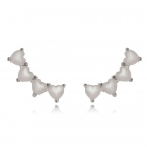 Ear Cuff da Moda Mini Corações Rosa Semijoia em Ródio Branco