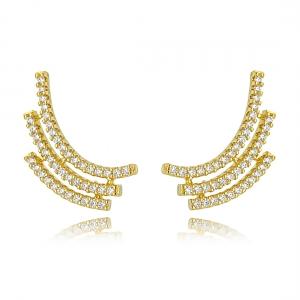 Ear Cuff Dourado Cravejado Zircônias Cristal Semijoia Fina Ouro