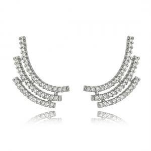 Ear Cuff Fashion de Zircônia Cristal Ródio Branco Semijoia Online