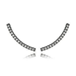 Ear Cuff Linha Zircônia Cristal Semijoia Fashion Ródio Negro