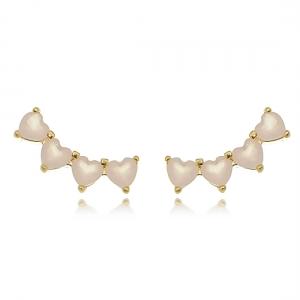 Ear Cuff Mini Corações Quartzo Rosa Semijoia Delicada em Ouro 18K