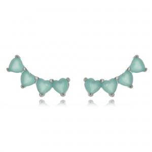 Ear Cuff Mini Turmalina de Corações Semijoia em Ródio Branco
