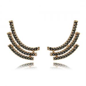 Ear Cuff Ouro Rosé com Zircônia Negra Semijoia Moderna