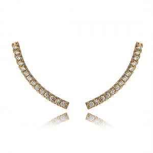 Ear Cuff Palito Curvo Ouro Rosé Zircônia Branca Semijoia