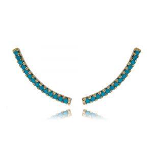 Ear Cuff Palito de Zircônia Turquesa Semijoia Fina Ouro Rosé