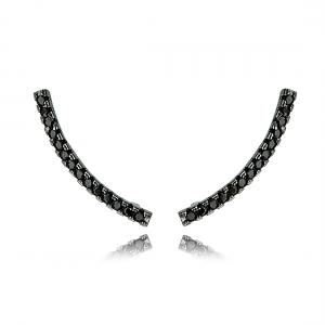 Ear Cuff Palito Semijoia Ródio Negro com Zircônia Negra