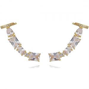Ear Cuff para Festa Zircônia Branca com Piercing Semijoia Ouro