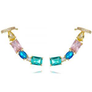 Ear Cuff Pedras Coloridas com Piercing Semijoia Banhado a Ouro